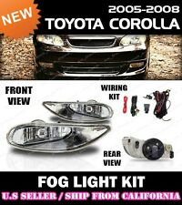 05 06 07 08 TOYOTA COROLLA Fog Light Driving Lamp Kit w/switch wiring (CLEAR)