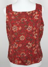 Charter Club Top Camisole Shell 100% Silk Rust Orange Green Floral Lined 12P