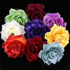 "Bulk 2/5Pcs 4"" Artificial Large Rose Fabric Flower Heads for Wedding Home Decor"