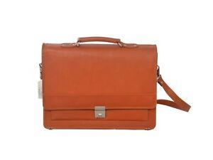 Men's Real Leather Briefcase Cross Body Work Office Messenger Orange Brown Bag