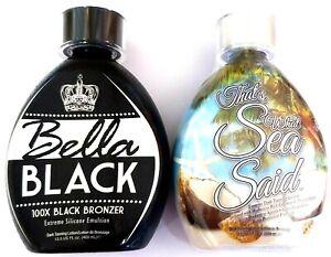 BELLA BLACK 100X Bronzer Dark Tanning Lotion & That's What Sea Said Intensifier