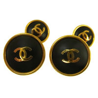 Authentic CHANEL Vintage CC Logos Cuffs Button Gold-Tone Accessories AK29704