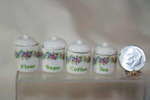 Miniature Dollhouse Ceramic Floral Canister Set MARKED Sugar Flour Coffee Tea NR