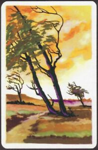 Playing Cards Single Card Old Vintage * SCENIC AUTUMN TREES in WIND * Art Design