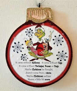 REFORMED GRINCH w/ CINDY LOU WHO, MAX  * Glitter CHRISTMAS ORNAMENT * Vtg Img