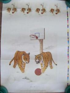 1985 One on One Print Litho Barbara Dunlap TIGERS TN Basketball Sports Poster A