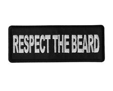 "(D19) RESPECT THE BEARD 4"" x 1.5"" iron on patch (6288) Biker"