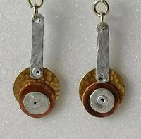 Artisan Modern Drop Dangle Gold Tone 925 Silver Hooks Hand Crafted Earrings