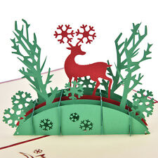 3D Pop Up Holiday Greeting Cards Deer Jesus Reindeer Christmas Thanksgiving TO