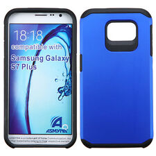 BLUE BLACK FUSION HYBRID RUBBERIZED COVER CASE For SAMSUNG Galaxy S7 P