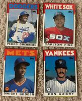 1986 Topps Baseball Cards Box Bottom Set 2 Fisk Gooden Guidry Guerrero E F G H