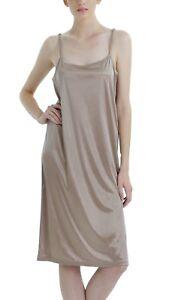 Women's basic satin long chemise full slip plain hem with adjustable straps