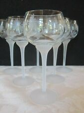 SET 6 CRYSTAL CLEAR INDUSTRIES ETCHED WINE GLASSES FROSTED SWIRL STEM #CC145