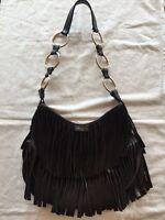 YSL Yves Saint Laurent Brown Suede Fringe 'La Boheme' Handbag