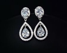 18k White Gold GF Dangle Earrings made w/ Swarovski Crystal Stone Bridal Jewelry