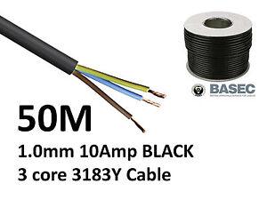 50M Black PVC Flexible Cable Flex 3 core 1.0mm 10 Amp 3183Y