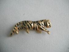 VINTAGE KREMENTZ ENAMEL TIGER CAT BROOCH
