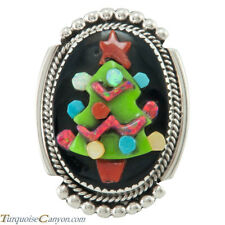 Zuni Native American Jet and Turquoise Christmas Tree Pin Pendant SKU#230313