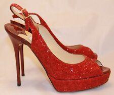 Jimmy Choo Vita Red Glitter Slingback Peep Toe Patent Pump 36.5 NEW HTF