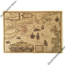 The mysterious sea monster map Vintage paper Poster  HOME WALL DECOR 21x15 Inch