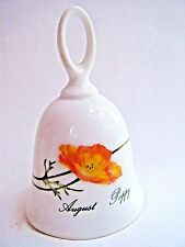 """Poppy Flower Bell August Porcelain China Month 4.75"""" Tall Tuscany Collection New"""