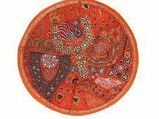"""Orange Round Floor Pillowcase Sari Beadwork Big Living Room Accent Cushion 26"""""""