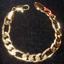 Wide Bracelet For Him Men's GOLD electroplate Solid TOP Quality Figaro Link USA