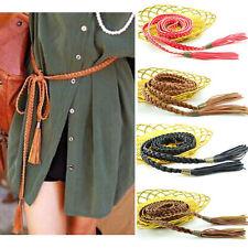 Women Knitted Long Leather String Waistband Boho Braid Skinny Waist Belt Tassel