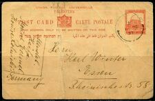 PALESTINe POSTCARD DATED 1937 TO ESSEN GERMANY CREASED AND MISHANDLED AS SHOWN