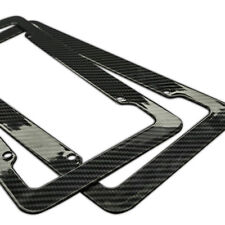 Plastic Carbon Fiber Style License Plate Frames For Front & Rear Braket 2pc Set