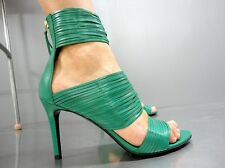 LK BENNETT BLACK RIBBON GLADIATOR SANDAL SANDALI SANDALEN LEATHER GREEN VERDE 39