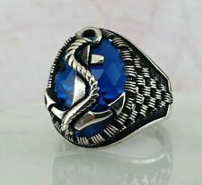 Turkish Ottoman Anchor Sapphire Gemstone Solid 925 Sterling Silver Ring
