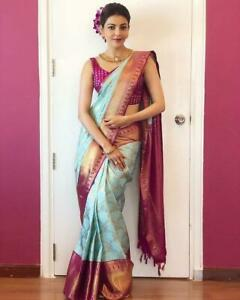 Indian Bollywood Saree Traditional Design Kanchipuram weaving Sari Blouse New GP