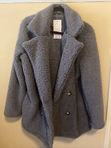 Pretty Garden Women's Fuzzy Faux Shearling Jacket Super Soft Size Large Nwt Gray