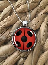 Miraculous Ladybug Red Black Pendant Silver Chain Necklace Gift NEW