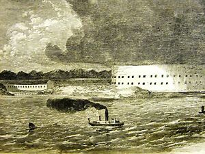 Fort Pickens Florida CONFEDERATE BATTERIES Fort McRae1861 Antique Print Matted