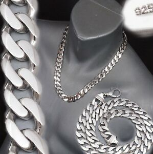 """122g 22"""" CURB CUBAN CHAIN HEAVY LINK 925 STERLING SOLID SILVER MENS NECKLACE PRE"""