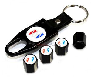 Buick White Logo Black Tire/Wheel Stem Air Valve CAPS & Wrench Key Chain gift
