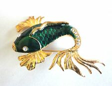 Fish Brooch Gold Plated Green Enamel Crystal Pin Mothers Day Gift Free Shipping