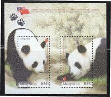 MALAYSIA 2015 GIANT PANDA CONSERVATION PROJECT SOUVENIR SHEET 2 STAMPS MINT MNH