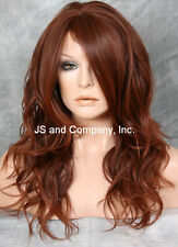 HEAT SAFE Fiber Loose WAVY Long Brown Red Auburn Mix Wig WBSY 33-130