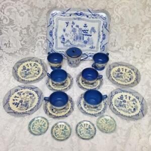 1950s, Ohio Art  Blue Willow 21-pc Child's Tin Tea Set