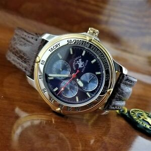 New POLO Tachymeter Chronograph Silver & Gold Watch Beverly Hills Polo