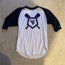 Badger Wvu Mountaineer Maniacs Baseball 3/4 Sleeve Shirt Sz Large Dri Fit