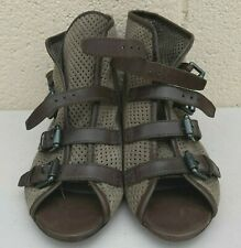 ASH Ankle Flats Brown Leather Perforated Strappy Sandals Peep Open Toe 38.5 US 8