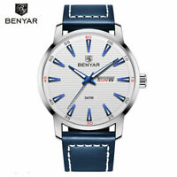 BENYAR 30m Waterproof Military Sport Watch Men's Quartz Watches Leather Strap
