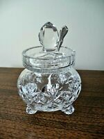 Handcut Clear Crystal Footed Honey Jam Jelly Mustard Jar w/ Lid Made in Poland