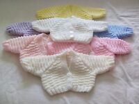 NEW HAND KNITTED CARDIGANS FOR EARLY BABY, NEWBORN AND 0-3 MONTHS