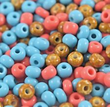 "Czech Glass Seed Beads Size 6/0 "" MIX TURQUOISE / CORAL/ MARBLE "" Loose 50 Grams"