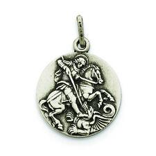 .925 Sterling Silver Antiqued St. George Medal Charm Pendant MSRP $57